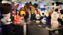 Mascots take over Yahoo Finance offices