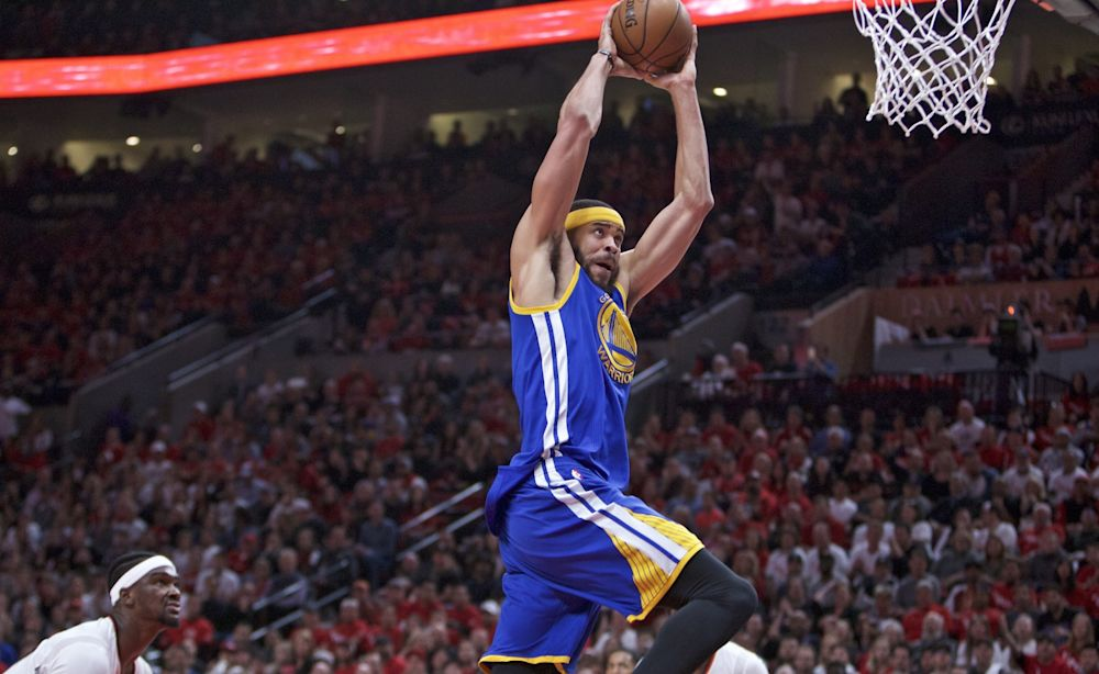 JaVale McGee has made a major impact off the bench for the Warriors against Portland. (AP)