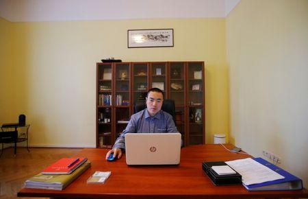 Yan Ding, a Chinese immigrant to Hungary who received an EU residency permit through the purchase of a special 300,000 euro government bond, works on his computer in Budapest September 28, 2016. REUTERS/Laszlo Balogh
