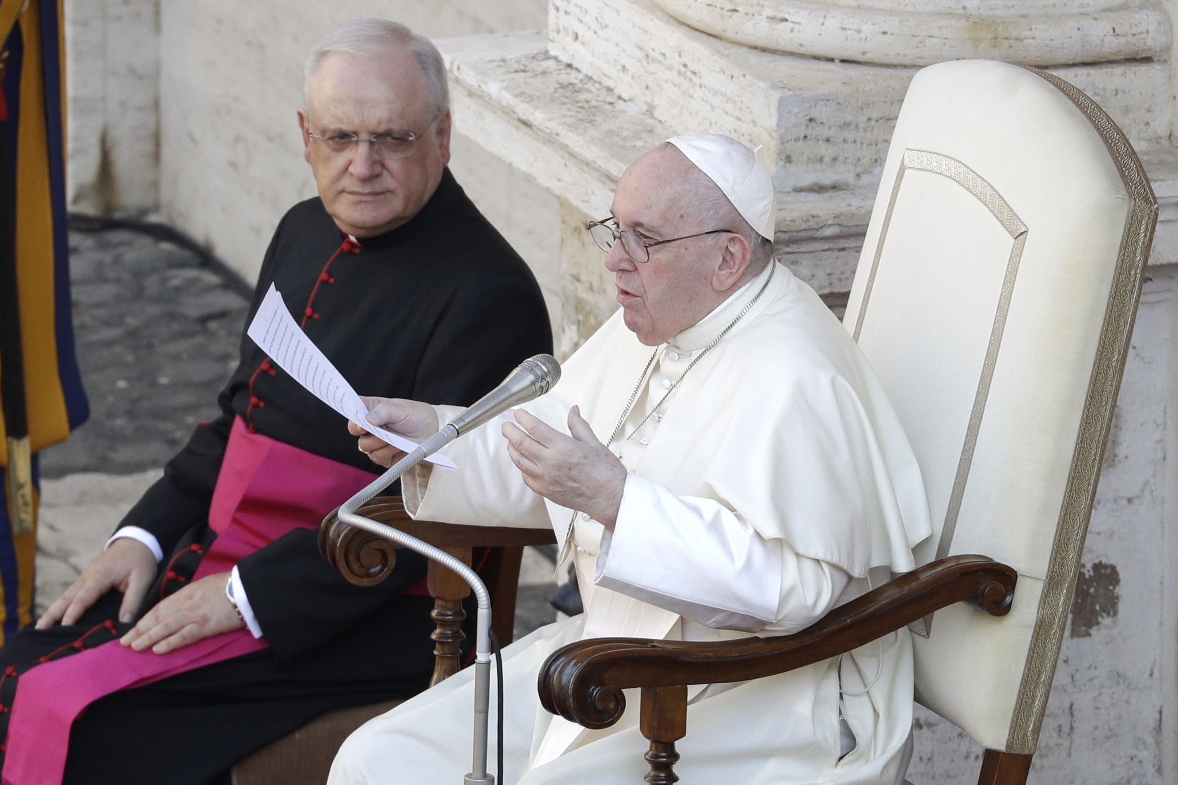 Pope Francis delivers his message in the St. Damaso courtyard on the occasion of his weekly general audience at the Vatican, Wednesday, Sept. 16, 2020. (AP Photo/Gregorio Borgia)