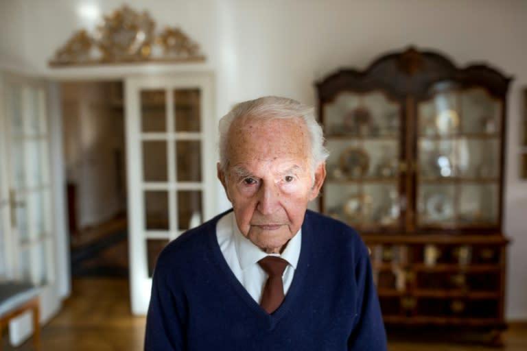 Leon Schwarzbaum, 98, was sent to Auschwitz in occupied Poland at the age of 22 (AFP Photo/Odd ANDERSEN)