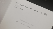 22-year-old quits job with condolence card: 'So very sorry for your loss'
