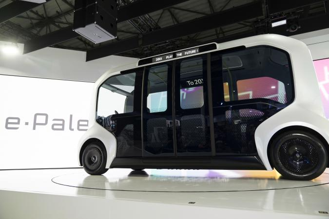 TOKYO, JAPAN - OCTOBER 23: Toyota Motor Corp.'s e-Palette Concept autonomous vehicle is displayed during a press conference at the Tokyo Motor Show on October 23, 2019 in Tokyo, Japan. The auto show takes place until November 4. (Photo by Tomohiro Ohsumi/Getty Images)