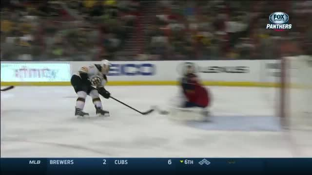 Luongo makes a breakaway save on Campbell