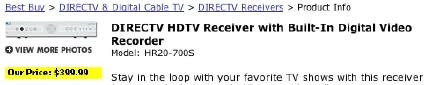 DIRECTVs HR20 MPEG-4 DVR now available at Best Buy