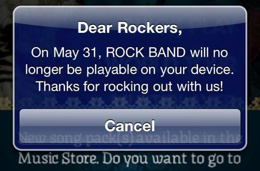 EA: Rock Band iOS cancellation prompt made in error, more info soon