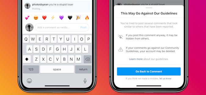 The Instagram app will remind users of the potential consequences when they make mean comments.