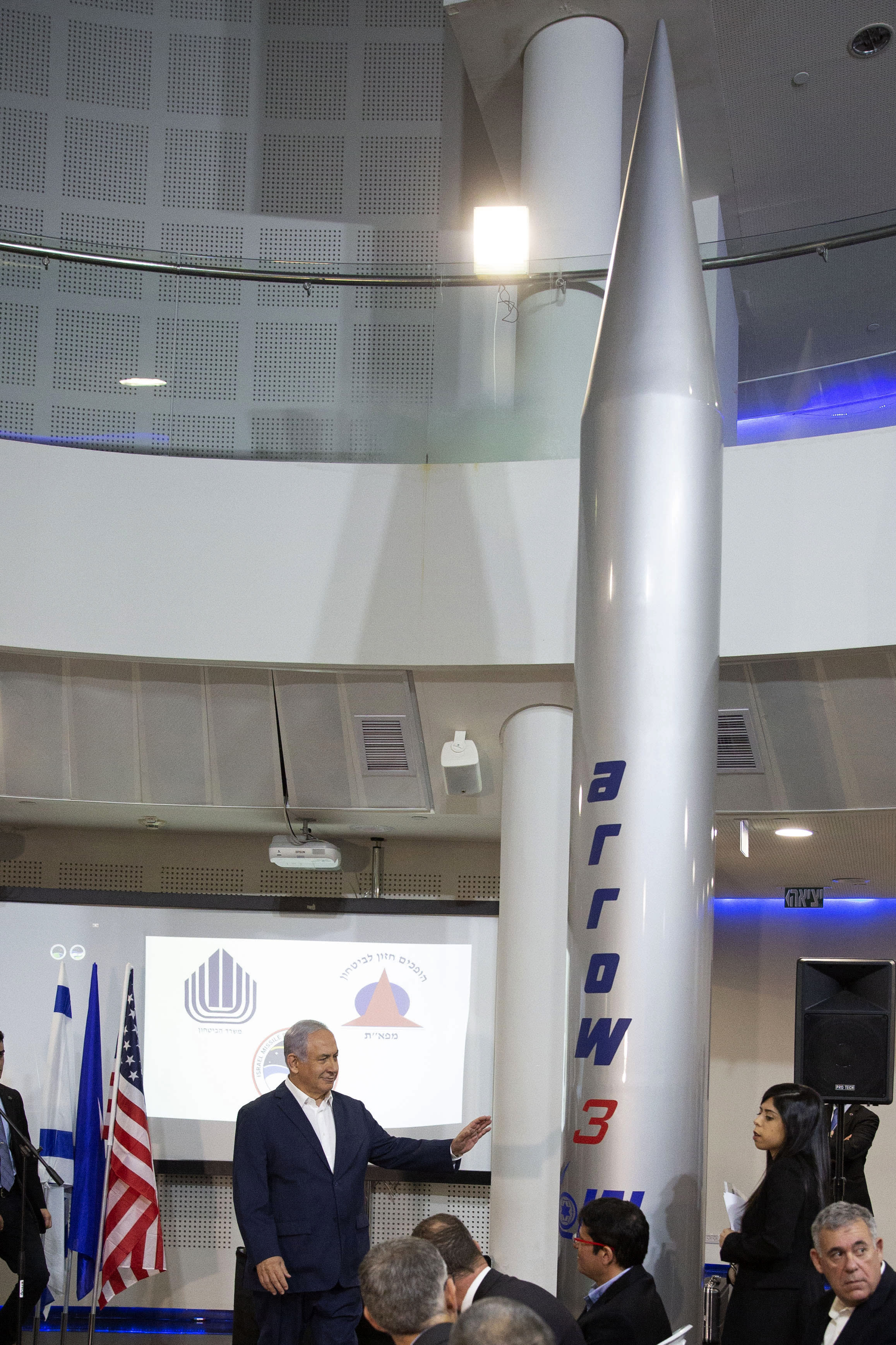 Israeli Prime Minister Benjamin Netanyahu speaks during a visit to the Israel Aerospace Industries (IAI) MLM Division plant in Be'er Ya'akov, Israel, Tuesday, Jan. 22, 2019. Israel said Tuesday that it has successfully tested the Arrow-3 interceptor, the country's advanced missile defense system capable of defending against ballistic missile threats outside the atmosphere. (Tomer Appelbaum/Pool Photo via AP)
