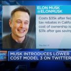Musk introduces lower cost Model 3 on Twitter