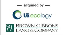 BGL Announces the Sale of Ecoserv Industrial Disposal to U.S. Ecology