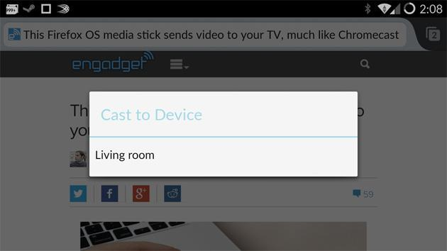 Firefox for Android beta updated with Chromecast, Roku streaming