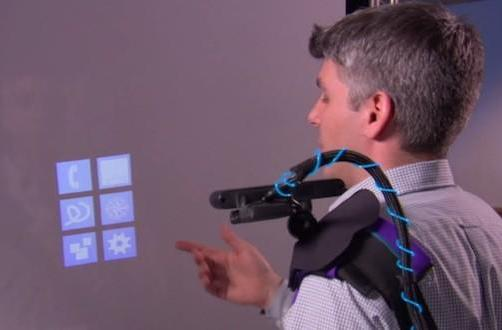 Microsoft Research's shoulder mounted system makes anything a multitouch display