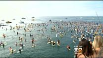Paddle Out Held In Newport Beach For Fallen Lifeguard