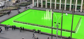 Who turned this NYC fountain bright green?