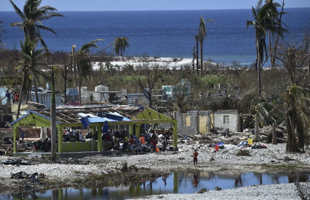View of the beach in Port Salut southwest of Port-au-Prince, on October 12, 2016, following the passage of Hurricane Matthew