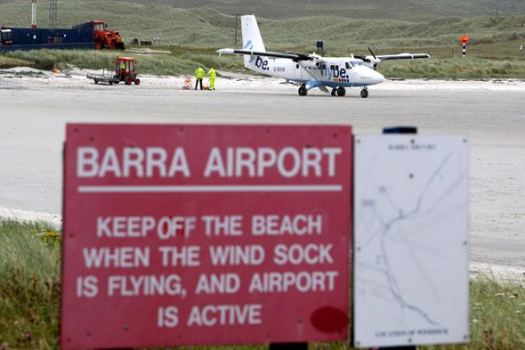 <p> 	Planes can only land here when the tide is out. Washed by the sea twice a day, Traigh Mhor runway is reputed to be the only beach runway in the world to handle scheduled airline services.</p>
