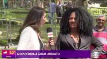 Entrevistada pela Globo em enterro de Gugu Liberato manda beijo para Sônia Abrão