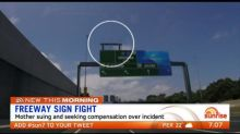Mum fighting for compensation after a freeway sign fell on her car