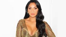Nicole Scherzinger a 'golden goddess' in plunging gown