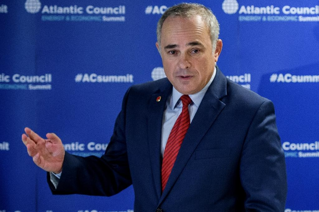 Israeli Energy Minister Yuval Steinitz gesture speaks during a press conference at the 23rd World Energy Congress on October 13, 2016 in Istanbul