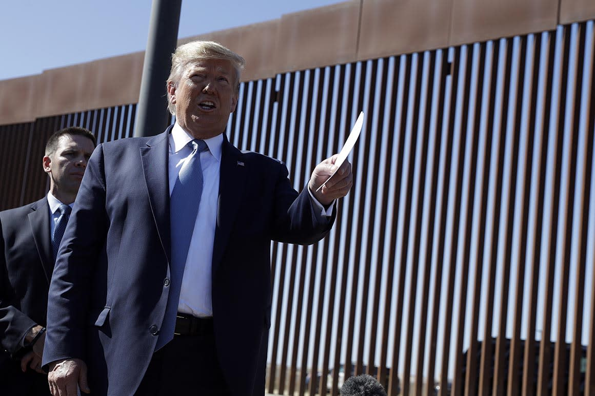 Trump talks up border wall — a bit more than some would like