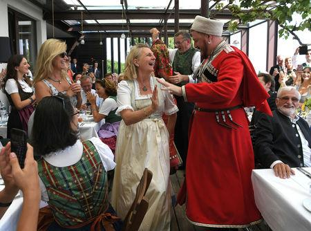 Austria's Foreign Minister Karin Kneissl celebrates her wedding in Gamlitz, Austria, August 18, 2018. Roland Schlager/Pool via Reuters