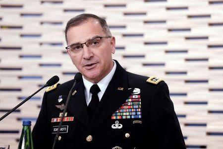 Commander of U.S. Forces in Europe, General Curtis Scaparrotti speaks during a news conference in Tallinn