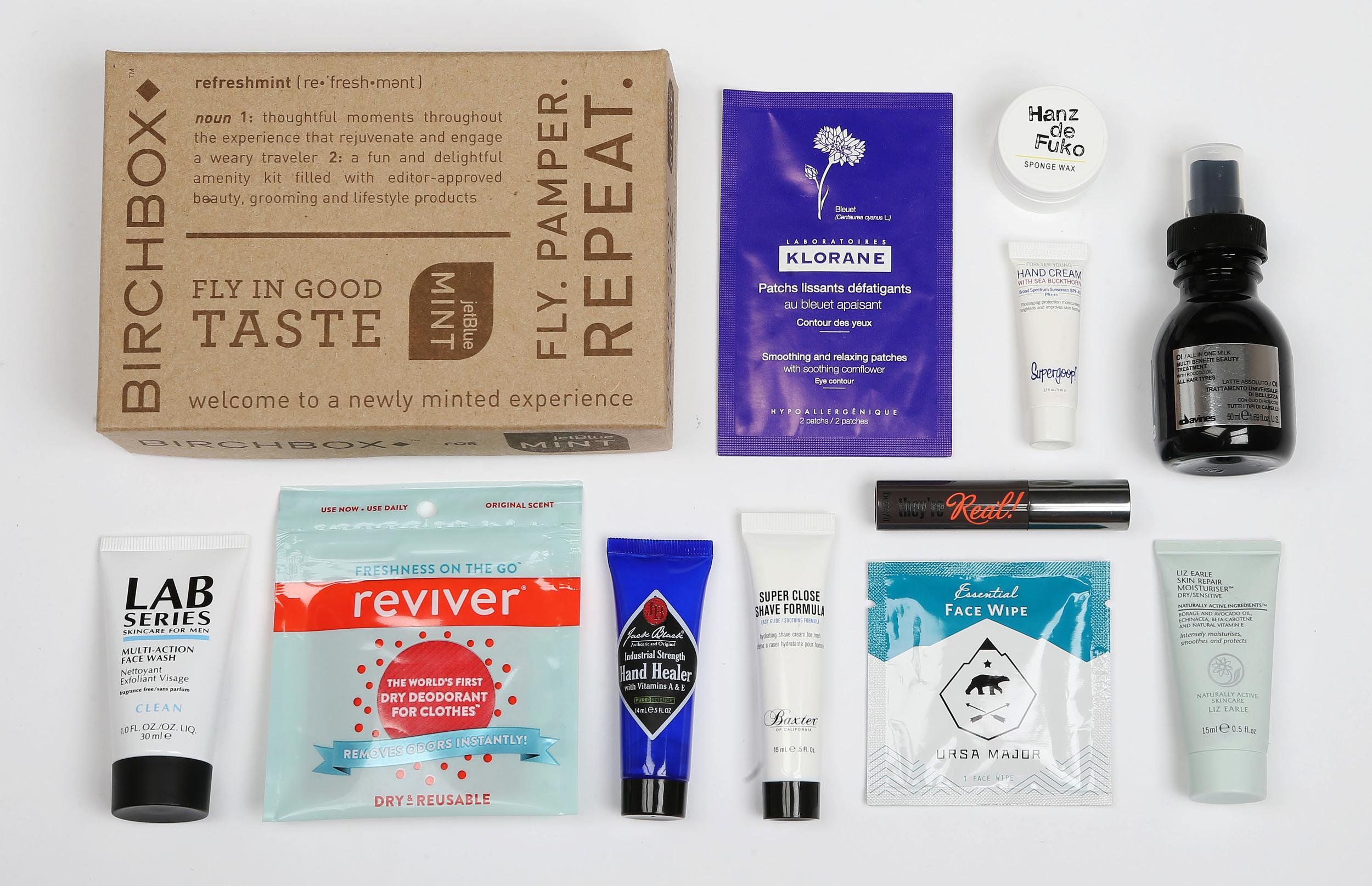 """<p><strong>What do you get?</strong> The great thing about JetBlue's Birchbox in-flight kit is that it bypasses the tooth brush + eye mask + shoe horn formula of other airlines. In our sample kit – a sturdy cardboard box branded JetBlue and Birchbox, attractively designed with multiple fonts and a definition of """"refreshmint"""" – there's a green (mint…) drawstring pouch containing a sample of the Birchbox products of the season. For men: A sachet of dry deodorant for clothes, Hanz de Fuko sponge wax, Hand Healer lotion, LAB Series multi-action face wash, Tube of Super Close Shave Formula, Ursa Major ambidextrous face wipe<br /> For women: Benefit mascara, Hand cream with sea buckthorn by Supergoop, Liz Earle Skin Repair Moisturiser<br /> Avines all-in-one milk multi-benefit beauty treatment, eye patch, deodorant<br /> <strong>Best bit of the kit?</strong> The ever-changing nature of Birchbox. This month it's Liz Earle, next month who knows which high-end treatment will appear on your low-cost(ish) flight.</p>"""