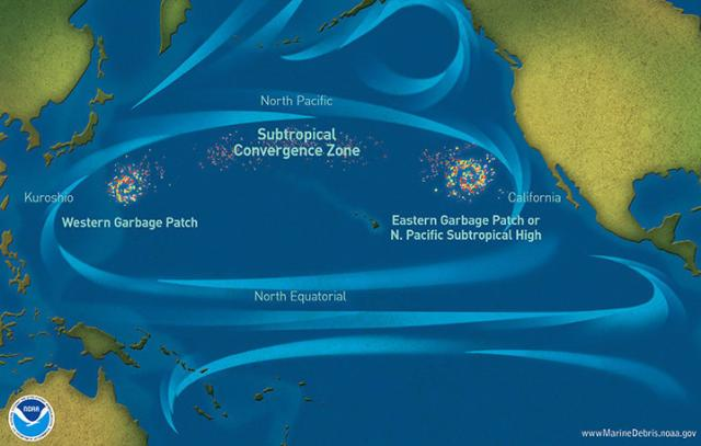 Marine debris accumulation locations in the North Pacific Ocean are seen.