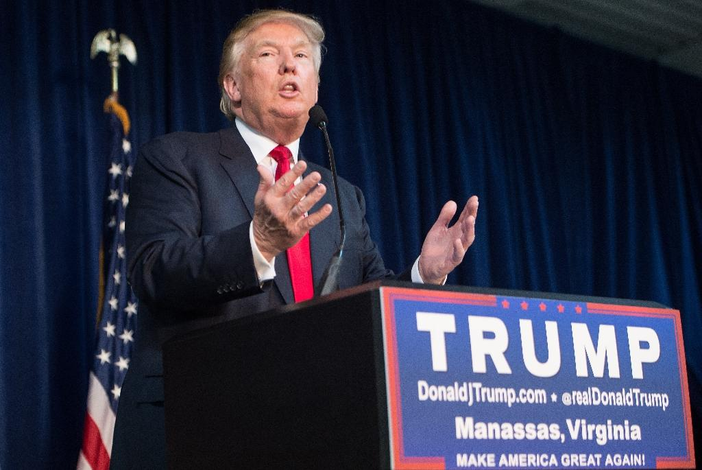 Republican presidential frontrunner Donald Trump addresses a campaign rally in Manassas, Virginia, on December 2, 2015