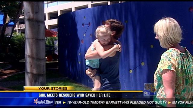 Girl meets rescuers who saved her life