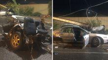 Shocking photos show car 'obliterated' in horrific crash