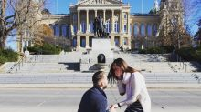 There's a sweet secret surprise in this couple's engagement photo