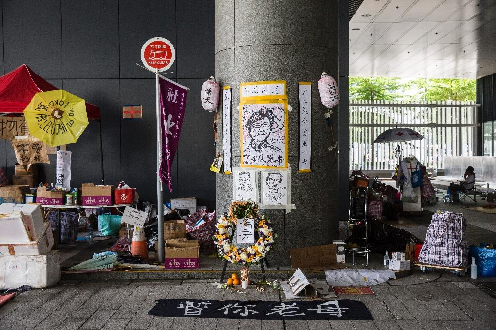 A shrine for Hong Kong Chief Executive Carrie Lam uses word play to skewer the beleaguered leader (AFP Photo/ISAAC LAWRENCE)