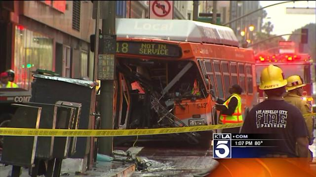 MTA Bus Driver Killed in Crash in Downtown L.A.