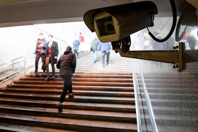 A picture shows a surveillance camera in an underground passage in Moscow on January 27, 2020. - A vast and contentious network of facial-recognition cameras keeping watch over Moscow is now playing a key role in slowing the rapid spread of coronavirus in Russia. (Photo by Kirill KUDRYAVTSEV / AFP) (Photo by KIRILL KUDRYAVTSEV/AFP via Getty Images)