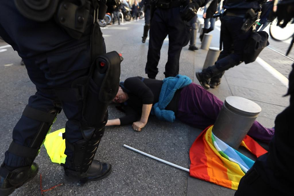 The target of the French president's latest swipe was Genevieve Legay, a 73-year-old anti-globalisation activist, who suffered a fractured skull when riot police charged anti-government demonstrators in Nice (AFP Photo/Valery HACHE)
