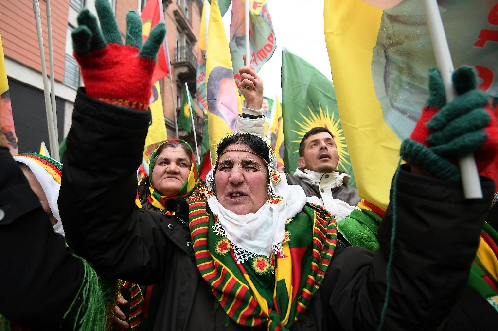 Kurdish demonstrators were marching through Strasbourg demanding Ocalan's release for an 18th straight year (AFP Photo/FREDERICK FLORIN)