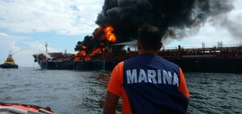 Fuel tanker burning in Gulf of Mexico
