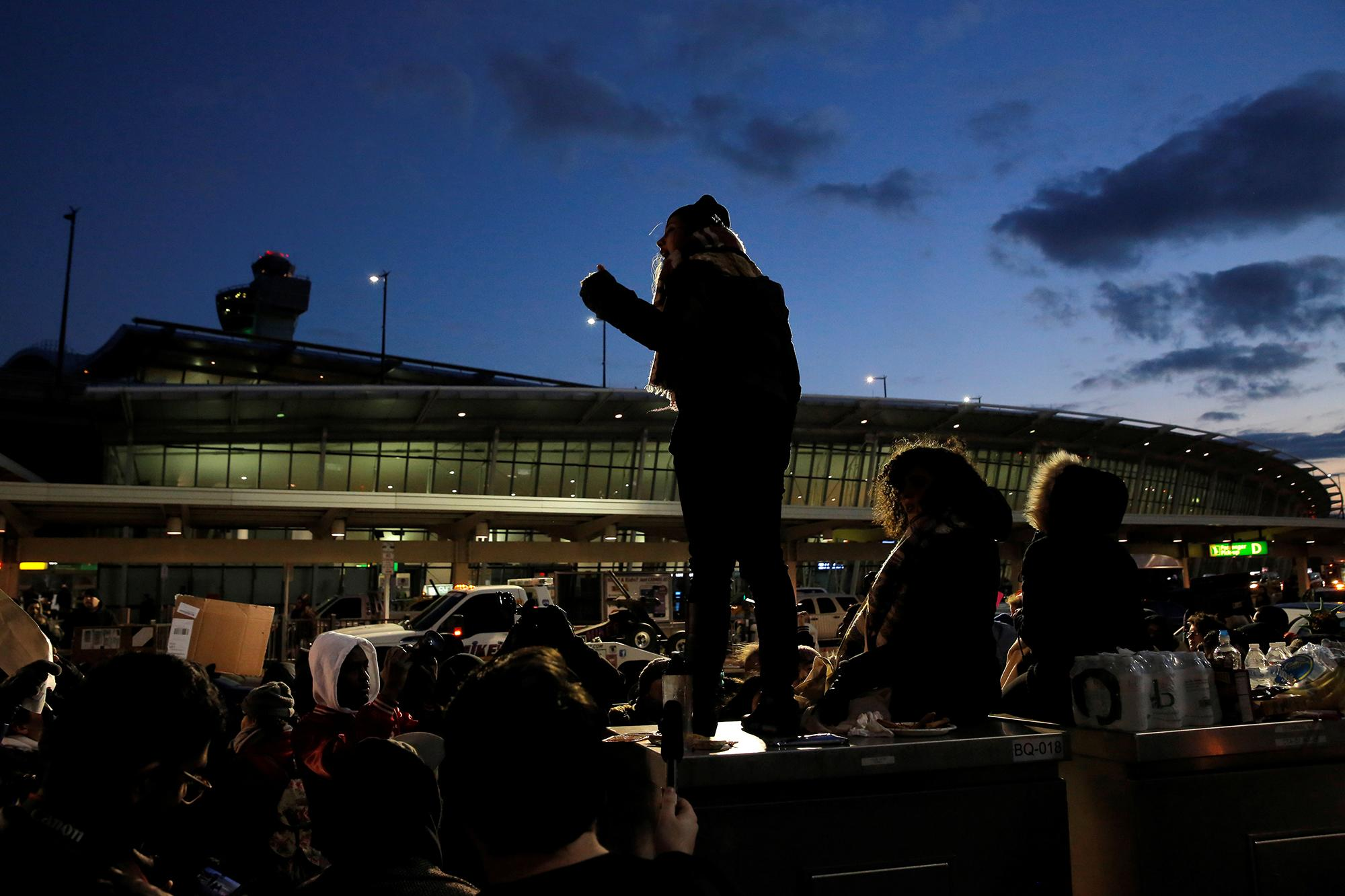 <p>People gather at Terminal 4 during a protest against Donald Trump's travel ban at John F. Kennedy International Airport in Queens, New York on Jan. 29, 2017. (REUTERS/Andrew Kelly) </p>