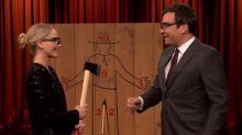 Jennifer Lawrence shows off her axe-throwing skills on 'The Tonight Show'