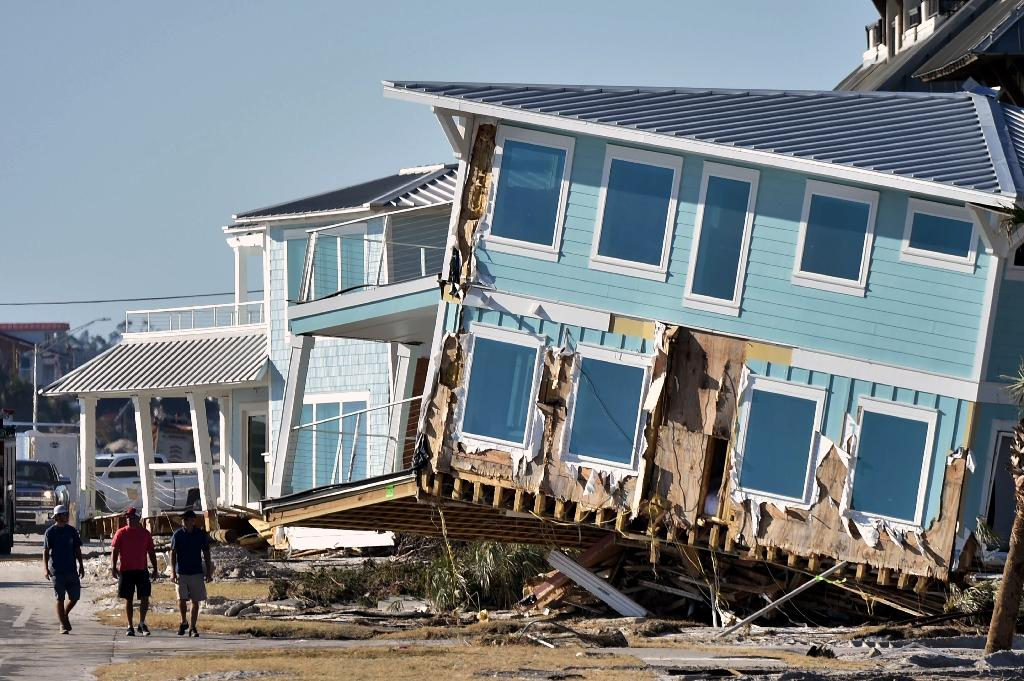 Hurricane Michael made landfall in Mexico Beach, Florida on October 10 as a catastrophic Category 4 storm, unleashing a storm surge that lifted houses like this one off their foundations (AFP Photo/HECTOR RETAMAL)