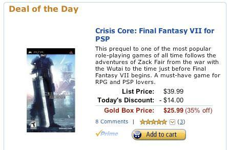 Today's Amazon Gold Box deal: Crisis Core for $26