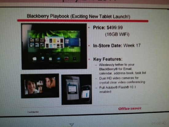 WiFi BlackBerry PlayBook priced at $500 in Office Depot's systems
