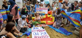 Burkini Ban Protestors Threw a Beach Party Outside London's French Embassy