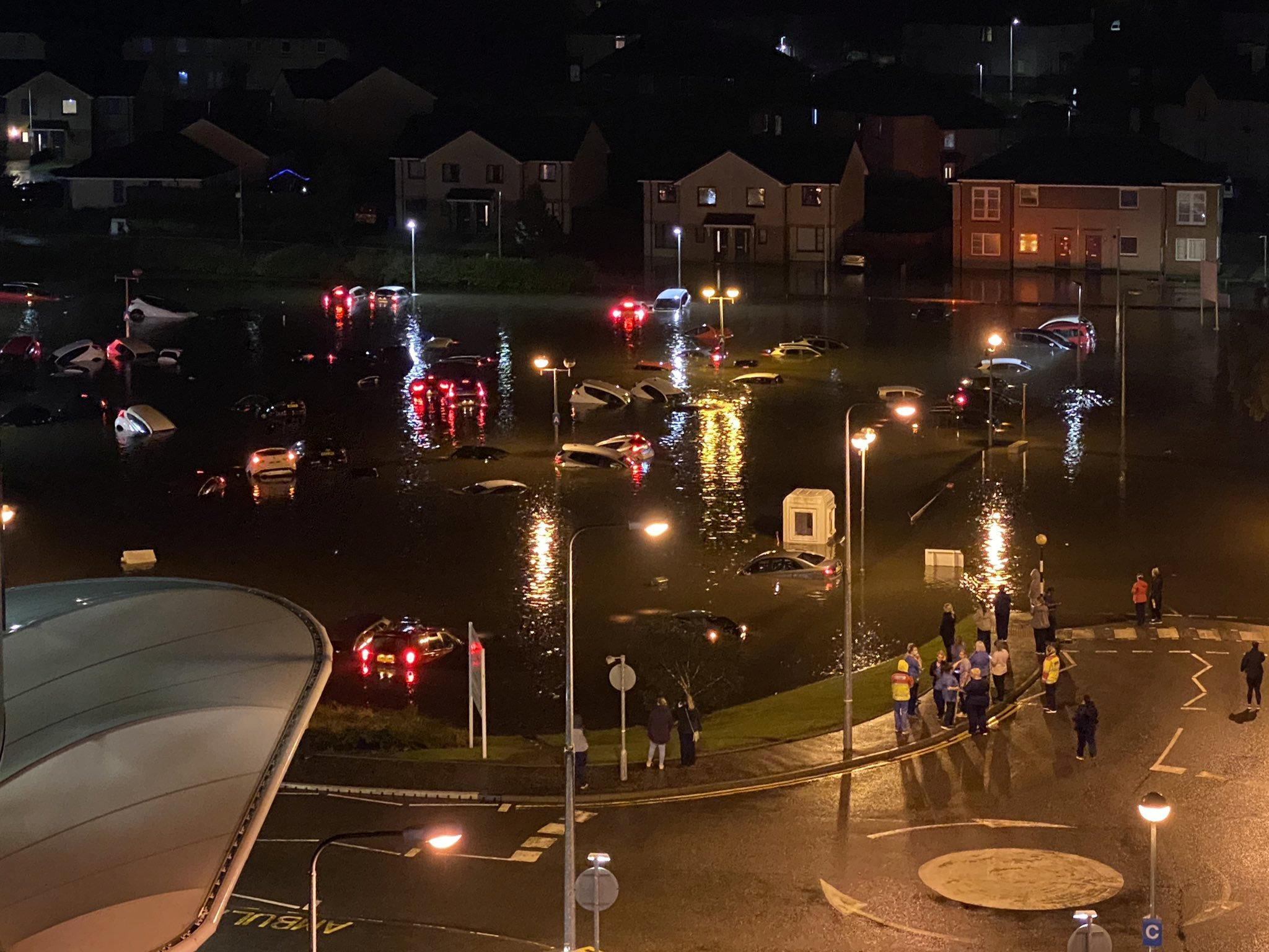 Hospital workers' cars wrecked after flooding following torrential rain in Scotland