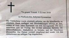 Schule verbietet Abistreich, Schüler schalten Todesanzeige