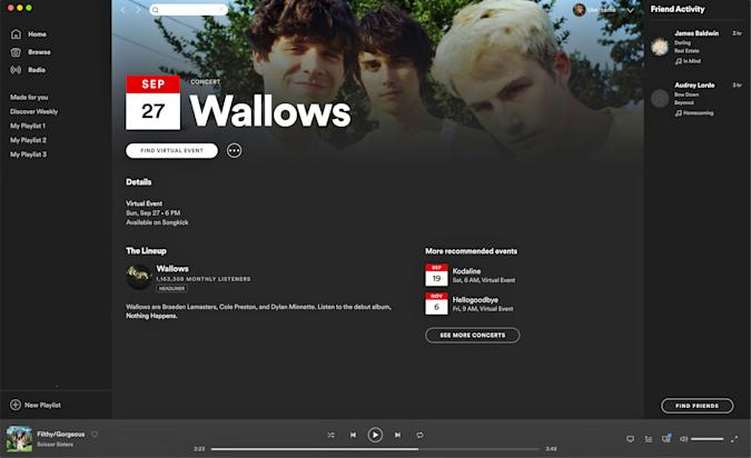 A Spotify virtual events page