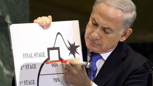 Netanyahu literally draws the 'clear red line' on Iran