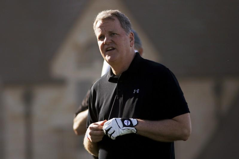 Doug Parker waits to tee off during the first round of the Pebble Beach Pro-Am golf tournament